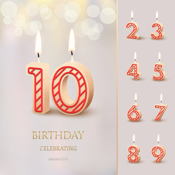 Burning Birthday candle in the form of number 10 figure and Happy Birthday celebrating text with numbers set isolated on blurred background. Vector Birthday invitation template.