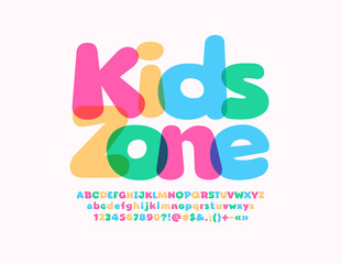 Fototapeta Vector colorful emblem Kids Zone with transparent playful Font. Bright Alphabet Letters, Numbers and Symbols