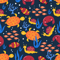 seamless pattern with marine life snail crab turtle - vector illustration, eps