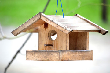 Bird table hanging on a rope