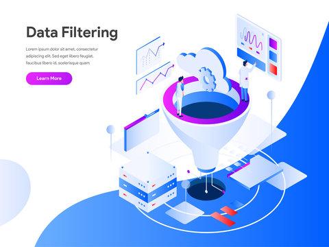 Data Filtering Isometric Illustration Concept. Modern flat design concept of web page design for website and mobile website.Vector illustration EPS 10