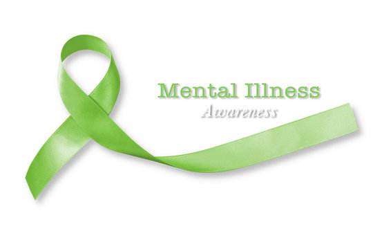 Mental illness awareness text with Lime Green ribbon color isolated on white background (clipping path):