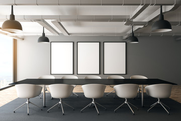 Modern meeting room with poster