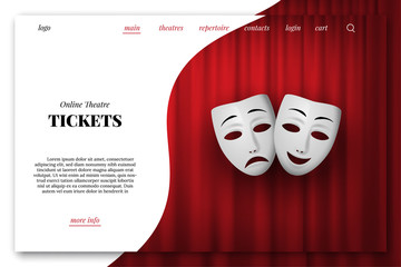 Online theatre tickets vector landing page template. Comedy and Tragedy theatrical mask isolated on a red curtain background.