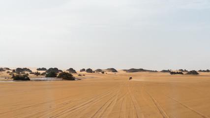Jeep driving in Sahara Desert in Algeria