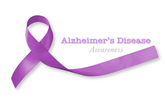 Alzheimer's Disease (AD) Awareness with purple ribbon isolated on white background for World Alzheimers day (month) concept