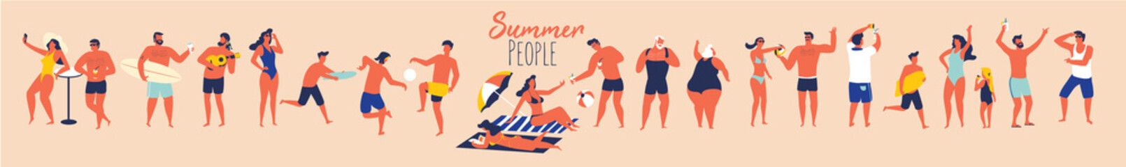 Summer holidays. People in swimming suit in different situations on the beach. Flat design illustration.