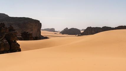 Beautiful Sahara Desert view sand dunes and tassili in Algeria