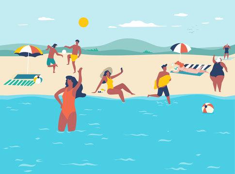 Summer holidays. Vacation scene with multiple people on sandy beach. Flat design illustration.