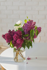 Bouquet of lilac in glass vase standing on kithen table