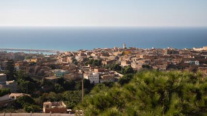 Beautiful skyline panorama view of city Mostaganem, Algeria