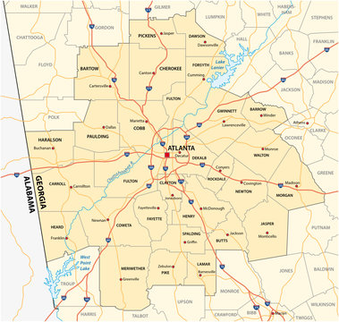 administrative and political road map of the Atlanta metropolitan area ​​georgia