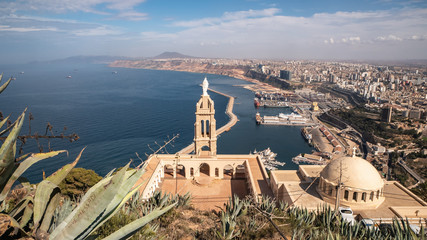 Mountain top cathedral and panorama skyline view of Oran, Algeria