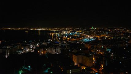Beautiful night panorama aerial view of skyline of city Algiers, Algeria