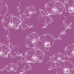 Vector hand drawn seamless pattern with stylized orchid branch for your design on the light background, pattern can be used for wallpaper.