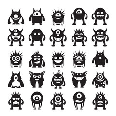 monster avatar character icons vector