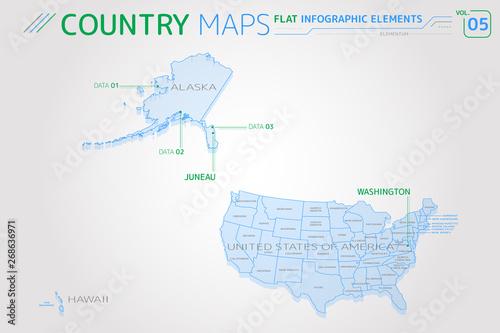 United States of America, Alaska, Hawaii Vector Maps\