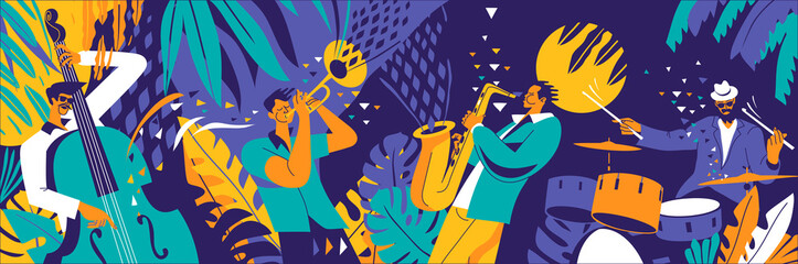 Jazz quartet. Musicians performing music on abstract floral background. Fotobehang