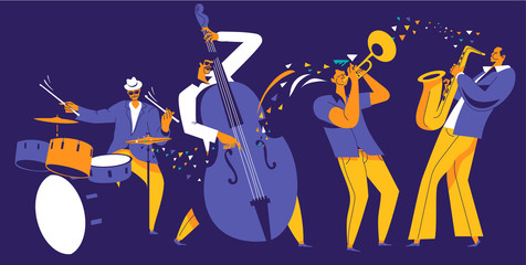Jazz quartet. Musicians with abstract music wave on dark blue background.