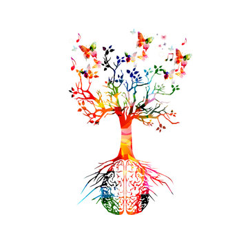 Colorful human brain with growing tree vector illustration background. Creative thinking, ideas and brainstorming, education