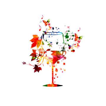Colorful wine glass with vine background vector illustration. Party flyer, wine tasting event, wine festival, celebrations, restaurant poster design for brochure, invitation card, menu, promotion
