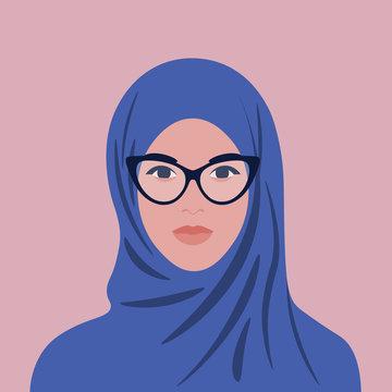 Portrait of an arabian woman in hijab and glasses. Muslim girl avatar. Vector flat illustration