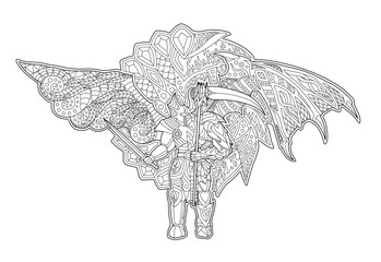 Art for coloring book with cartoon fallen angel