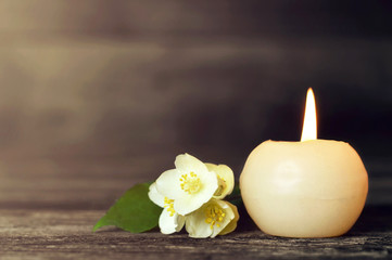 Candle and flower Wall mural
