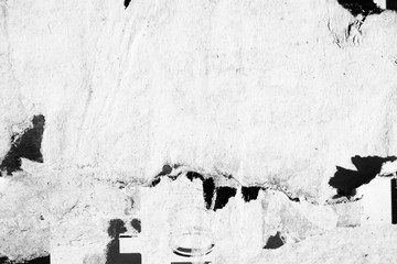 Blank black white creased crumpled paper texture background old grunge ripped torn vintage collage posters placards empty space text