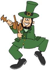 Irish leprechaun playing a fiddle