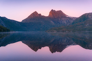 Cradle Mountain reflected in lake Dove at sunrise