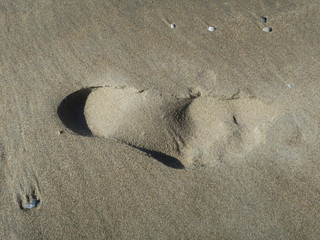 heel spur, print of a foot in the snad of the beach