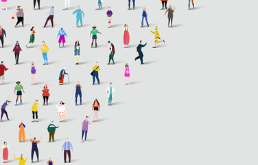 Background made of lots of people, different professions, age group and backgrounds.