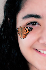 beautiful girl and beautiful butterfly
