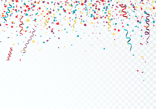Celebration or festival colorful background template with falling paper confetti and ribbons. Vector illustration isolated on transparent background
