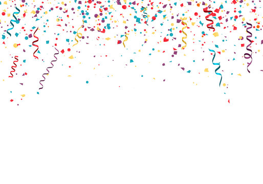 Celebration or festival colorful background template with falling paper confetti and ribbons. Vector illustration isolated on white background
