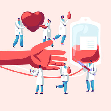 Blood Donation. Male, Female Characters in Medical Uniform Making Lifeblood Transfusion from Human Hand to Plastic Container. Donation Laboratory, Healthcare, Charity. Cartoon Flat Vector Illustration