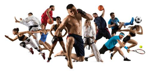 Multi sports collage  mma fighter, basketball, taekwondo, karate, tennis, etc. Isolated