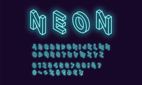 Neon isometric alphabet, Azure color. Neon Font