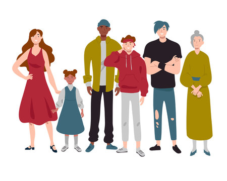 Group of people of different ages childhood, youth, middle and old