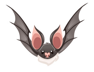 Cartoon bat. Cute vampire bat, flying mammal. Flat vector illustration isolated on white background. Cartoon character design. Bat fly, front view