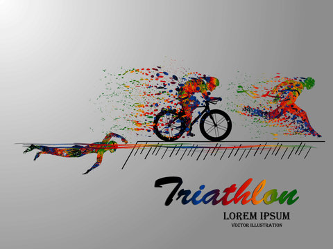 Visual drawing swimming, cycling and runner sport at fast of speed in triathlon game, colorful beautiful design style on white background for vector illustration, exercise sport concept