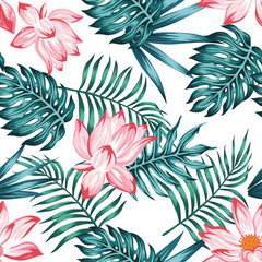 Wall Mural - Floral seamless pattern white background
