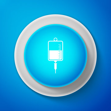 IV bag icon isolated on blue background. Blood bag icon. Donate blood concept. The concept of treatment and therapy, chemotherapy. Circle blue button. Vector Illustration