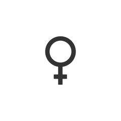 Female gender symbol icon isolated. Venus symbol. The symbol for a female organism or woman. Flat design. Vector Illustration