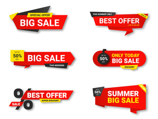 Set of sale tags. Sale, discount and special offer, colorful banners. Collection of discount label, offer tag and sale sticker design for advertising and promotion Wall mural