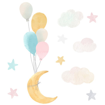 Vector baby moon stars and clouds