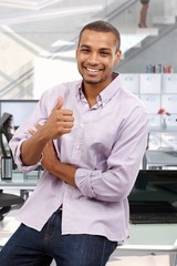 Happy business office consultant giving thumbs up