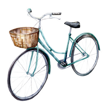 Watercolor card with blue bicycle with basket. Hand painted summer illustration isolated on white background. For design, prints or background.