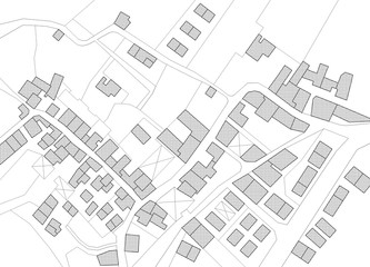 Imaginary cadastral map of territory with buildings and roads